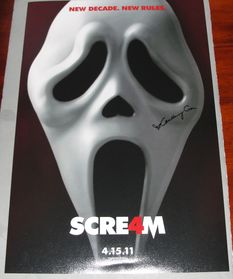Courteney Cox signed Scream 4 poster