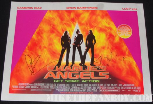 signed charlie's angels poster