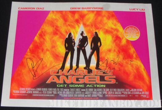 signed charlie's angels poster