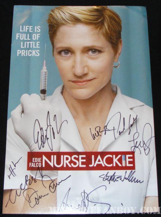 Nurse Jackie Edie Falco signed promo poster rare