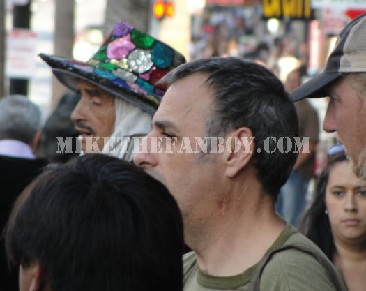 crazy sequined hat man on hollywood blvd.