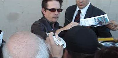 Michael J Fox signing autographs for fans jimmy kimmel