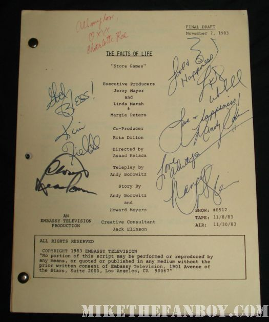 cloris leachman facts of life cast signed script