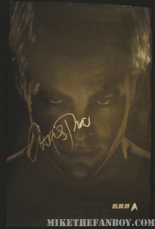 chris pine signed star trek kirk promo poster rare 2009