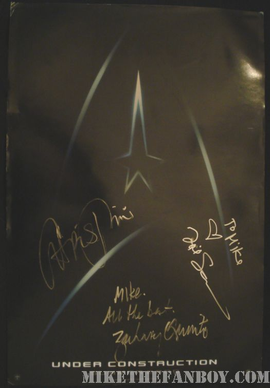 star trek signed promo poster rare chris pine zoe captain kirk