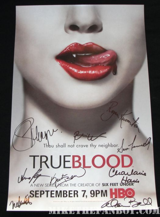 True Blood cast signed promo poster comic con