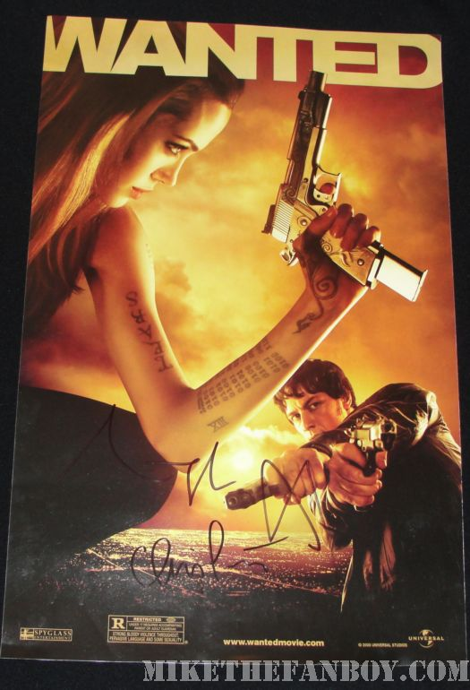 Angelina jolie signed Wanted mini poster salt premiere