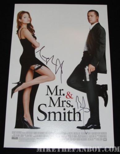 Mr and Mrs. Smith signed poster Brad Pitt angelina jolie