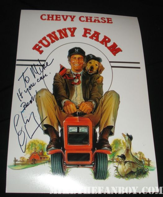 chevy chase signed funny farm mini movie poster smith