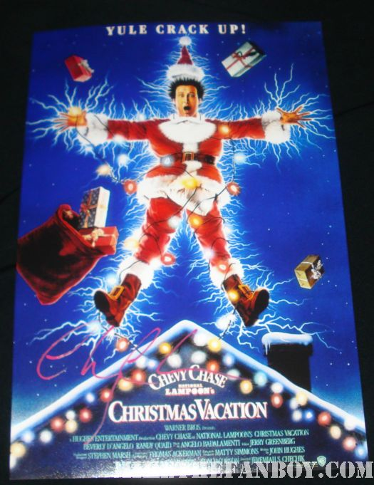 Chevy Chase signed Christmas Vacation mini poster
