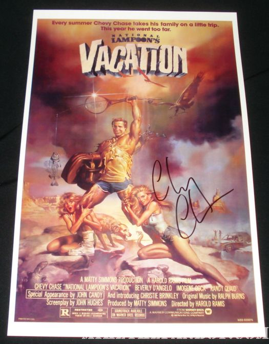 chevy chase autographed vacation poster