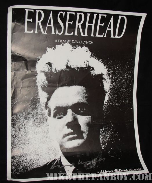 Eraserhead mini poster signed by David Lynch rare black and white