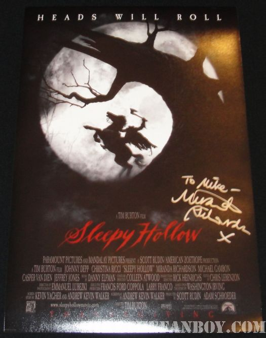 Miranda Richardson Signed Sleepy Hollow poster AFI Kevin Spacey