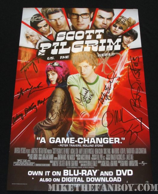 Scott Pilgrim Vs. The World DVD signing Mini poster hand signed autograph rare