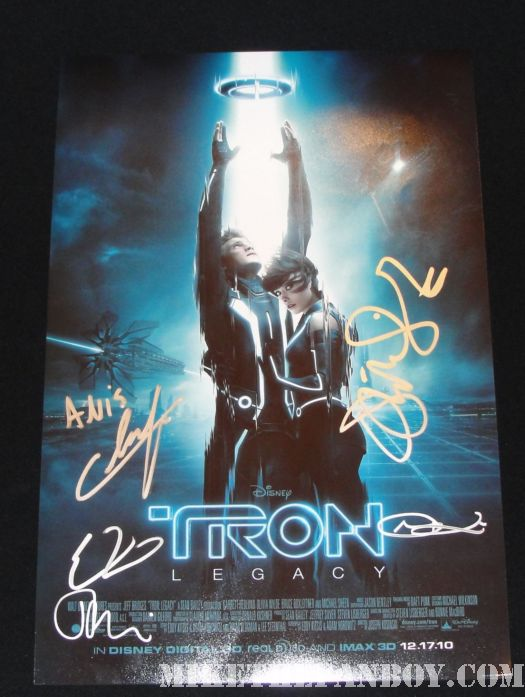 tron legacy autograph poster signed mini rare olivia wilde james frain anis