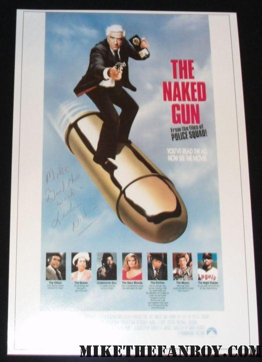 Leslie Nielsen Frank Drebin Naked Gun signed Autograph poster Rare RIP