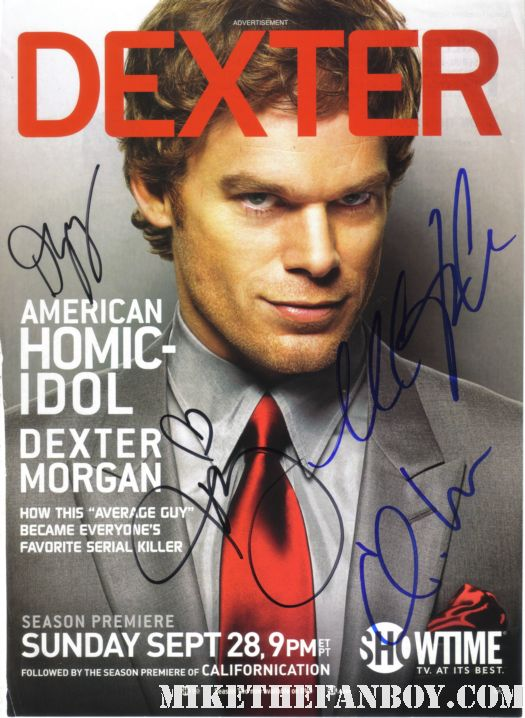 Michael C Hall Cast signed Dexter Promo Poster GQ signed Autograph mike the fanboy