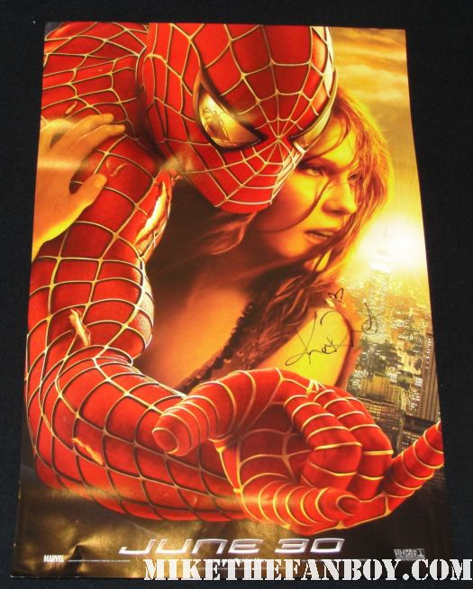 kirsten dunst spider man mini movie poster signed autograph
