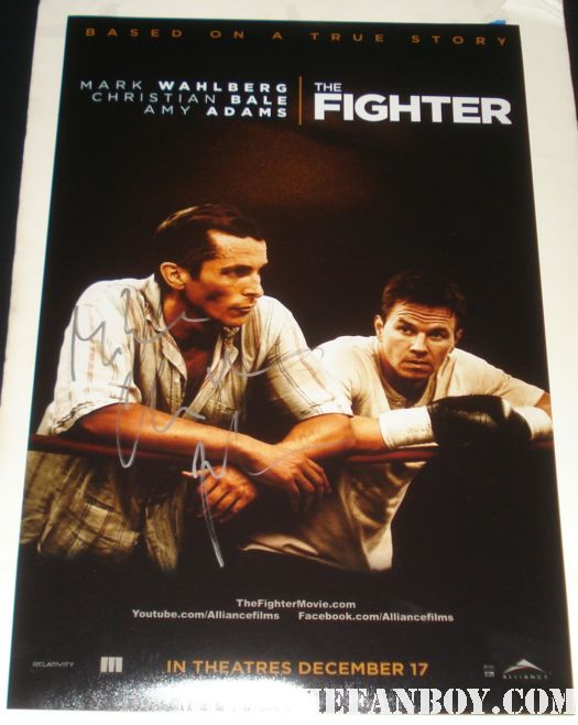 Christian Bale signed fighter mini poster rare at the Fighter premiere sexy hard naked shirtless