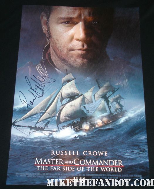 Paul Bettany Russell Crowe Master and Commander signed autograph mini poster
