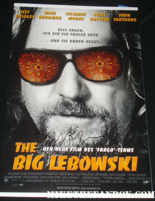 Big Lebowski signed autograph mini poster jeff bridges rare