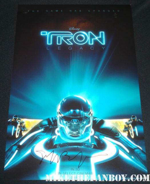 jeff bridges signed tron legacy mini poster light cycle rare autograph