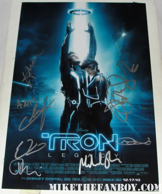 olivia wilde signed tron legacy promo mini poster rare michael sheen
