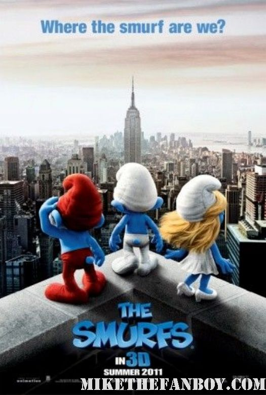 smurfs teaser movie poster summer 2011 hank azaria rare movie peyo blue guys