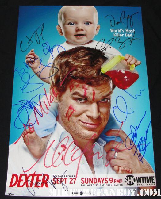 dexter cast signed promo poster lauren velez michael c hall julie benz autograph signed rare