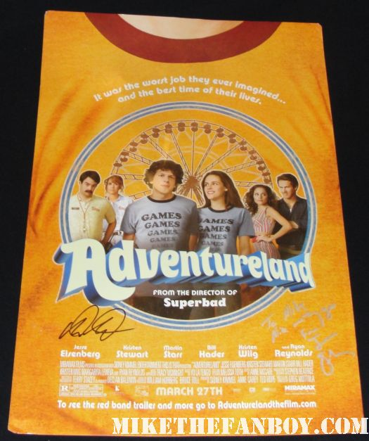 jesse eisenberg signed autograph promo adventureland poster social network rare