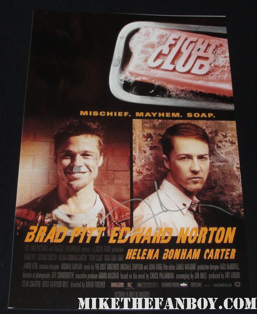 david fincher rare signed fight club poster brad pitt social network mini promo