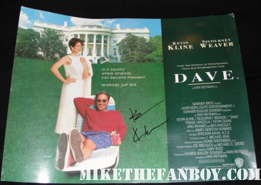 dave rare mini movie poster uk quad sigourney weaver kevin kline autograph