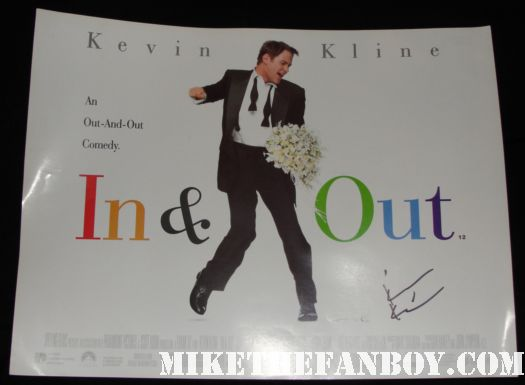 kevin kline in and out hand signed mini poster movie one sheet rare
