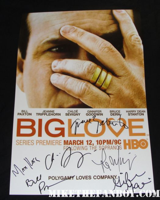 ill paxton Ginnifer Goodwin Chloë Sevigny cast signed Big Love promo poster