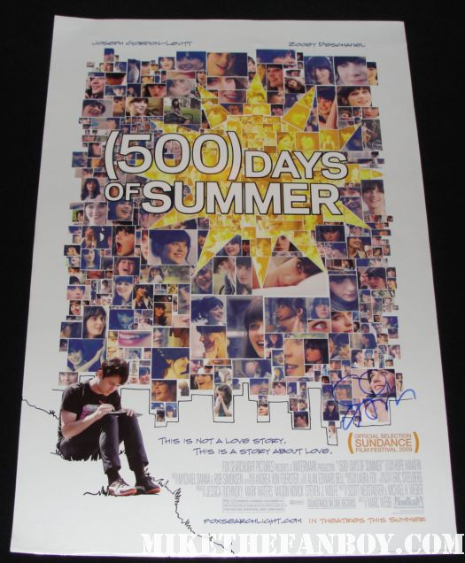 clark gregg jennifer grey hand signed promo mini poster 500 days of summer