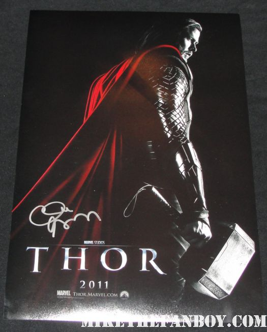clark gregg Thor Chris Helmsworth signed promo mini poster autograph rare