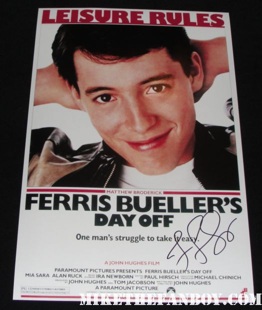 Ferris Bueller's Day Off Jennifer Grey hand signed mini promo poster mathew Broaderick rare