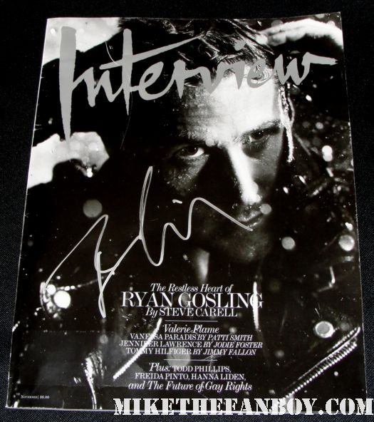 Ryan Gosling hand signed autograph interview magazine november 2010 sexy hot photo