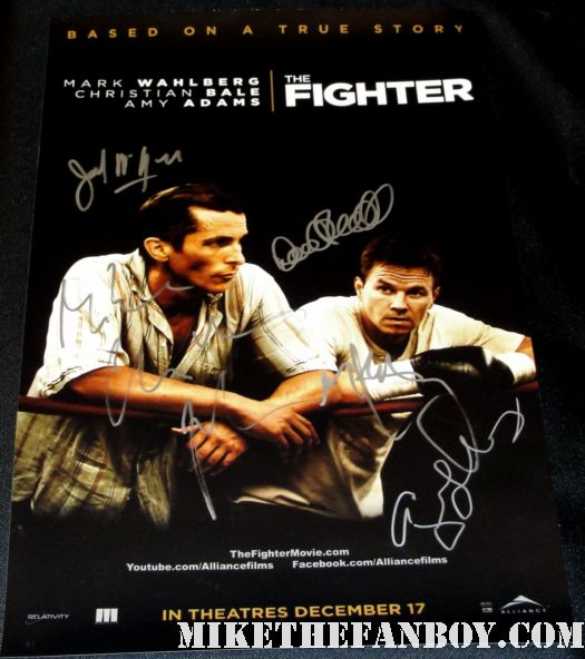 Mark Wahlberg signed autograph rare fighter promo poster hand signed cast amy adams melissa leo rare
