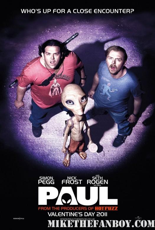 Paul Teaser one sheet movie poster simon pegg seth rogan nick frost sigourney weaver rare