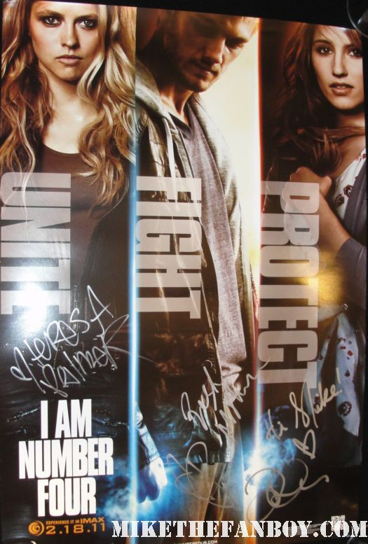 Alex Pettyfer Teresa Palmer Dianna Agron  i am number four sexy hot shirtless naked autograph signing rare promo poster