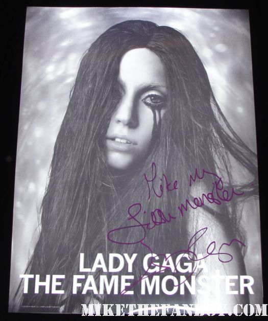 lady gaga lenticular poster rare promo signed autograph promo fame monster born this way sex