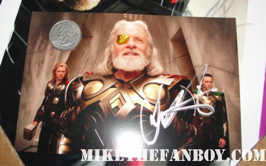 Chris Hemswoth sigh anthony hopkins signed autograph promo photo loki thor rare signed