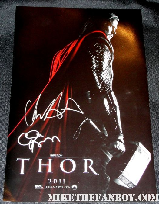 thor promo mini poster signed autograph chris hemsworth sexy hot hammer smoking rare promo