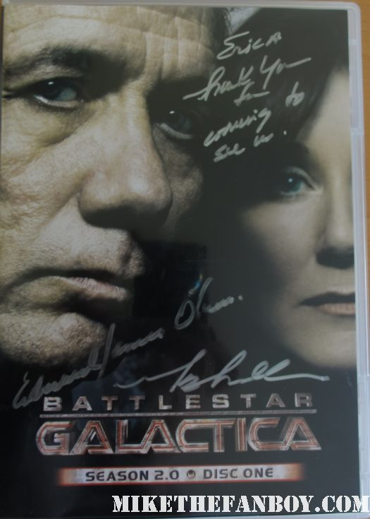 battlestar galactica hand signed dvd edward james olmos mary mcdonnell rare signed promo prop