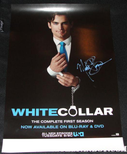 white collar rare promo poster hand signed autograph matt bomber mathew bomer