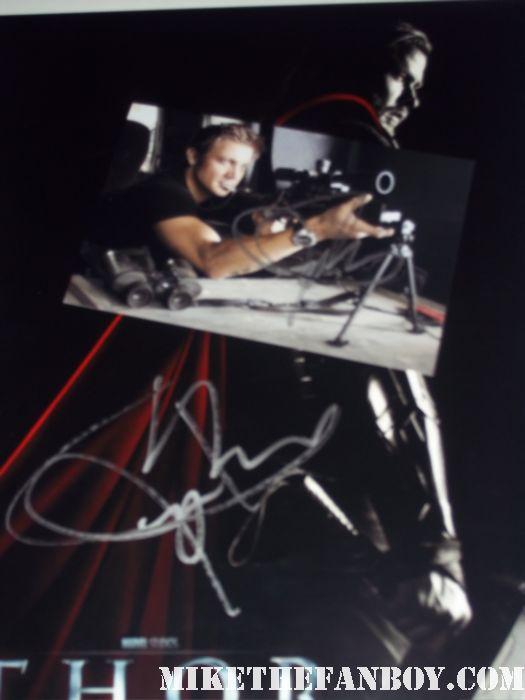 Jeremy Renner  signed autograph rare mini poster promo the town hurt locker rare avengers joss whedon hawkeye Clint Barton