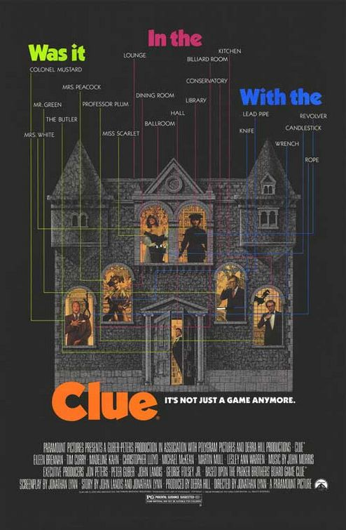 clue the movie one sheet movie poster rare mini matin mull lesley ann warren christopher lloyd