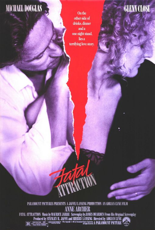 fatal attraction michael douglas glenn close valentine's day rare movie poster