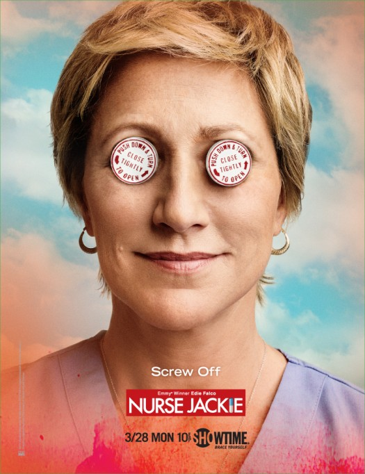 nurse jackie edie falco merritt weaver promo poster season 3 premiere march 28th rare screw off bottle sopranos oz showtime